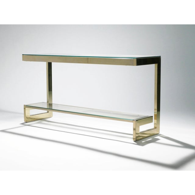 Metal Guy Lefevre Pair of Large Brass Console Tables for Maison Jansen, 1970s For Sale - Image 7 of 11