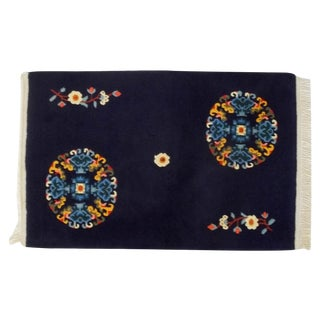 Tibetan Hand Knotted Navy Blue Floral Rug