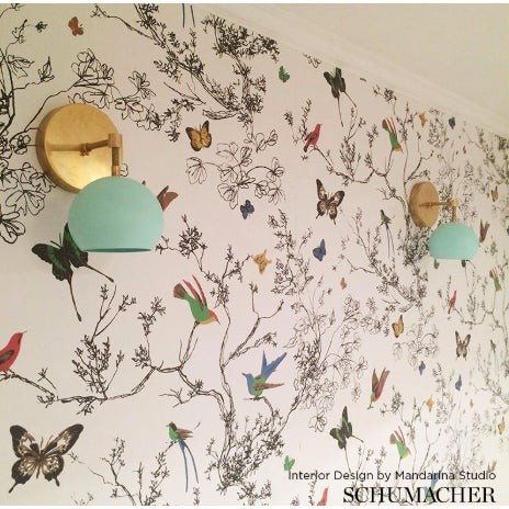 Schumacher Sample - Schumacher Birds & Butterflies Luxe Wallpaper in Multicolor on White For Sale - Image 4 of 6