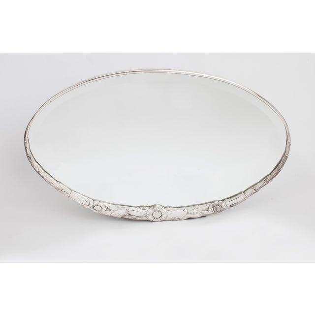 1930s 1930s Art Deco Silvered Sculpted Floral Motif Bronze Oval Mirror For Sale - Image 5 of 5