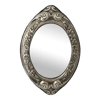 Vintage Vanity Mirror in Ornate Pressed Silverplate For Sale
