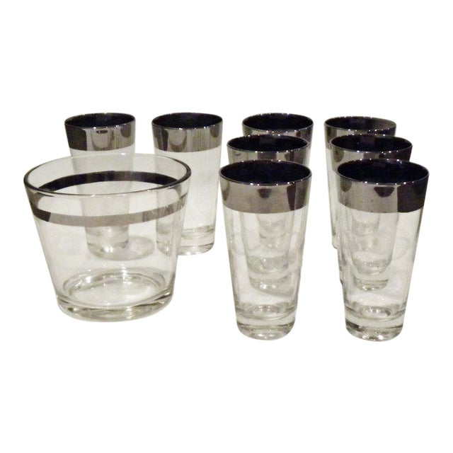 Vintage Mid Century Bar Glass Set - 9 Pieces For Sale