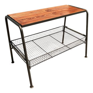 Wood and Metal Console With Lower Mesh Tray by Kalalou For Sale