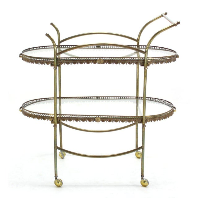 Nice brass tea cart with removable trays