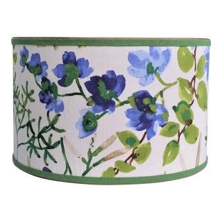 Lampshade Cobalt Blue Lime Green Linen Large Drum For Sale