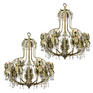 French Painted Iron Chandeliers For Sale