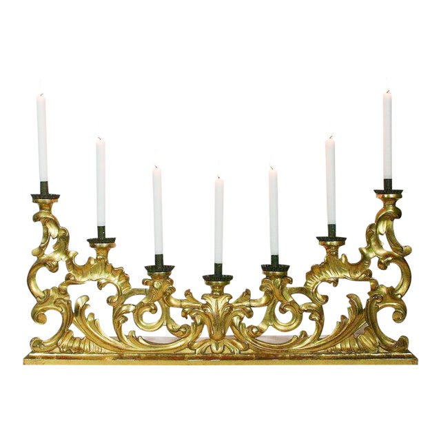 Italian 18th C Large Baroque Gilt Wood Candelabra, Circa 1750 For Sale