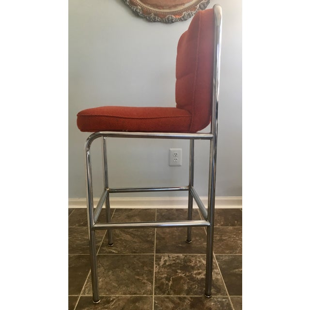 Mid 20th Century Mid-Century Orange Upholstered Chrome Tube Bar Stools - A Pair For Sale - Image 5 of 10