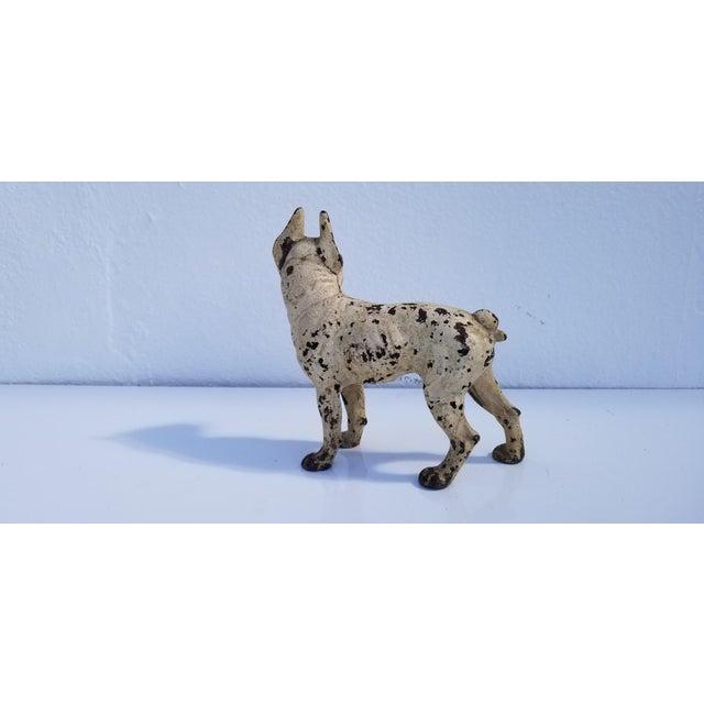 1930s Vintage White Cast Iron Boston Terrier Dog Sculpture / Doorstop For Sale - Image 10 of 11