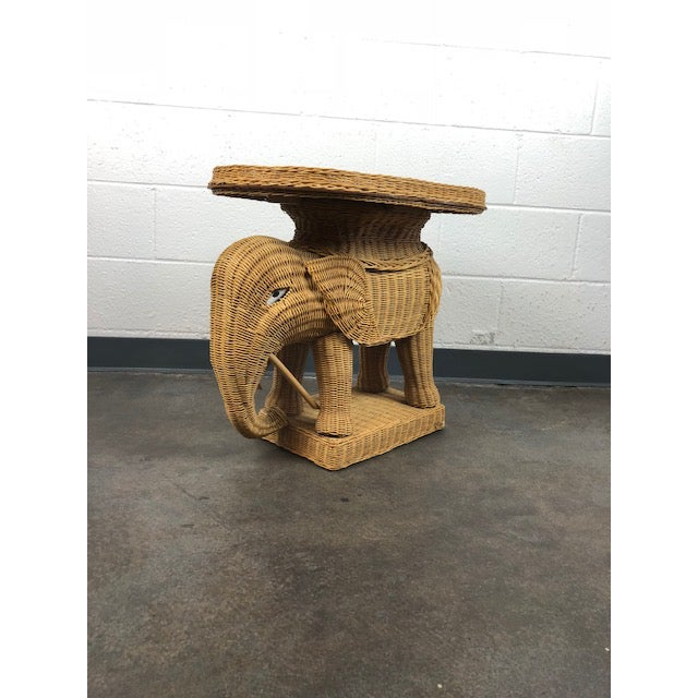 Vintage Woven Rattan Elephant Tray Table For Sale In San Diego - Image 6 of 13