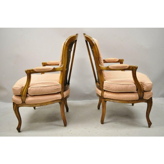 Early 20th Century French Louis XV Provincial Style Carved Walnut Cane Back Arm Chairs - a Pair For Sale - Image 5 of 11