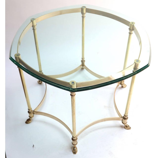 Hexagonal Brass Side Table With Glass Top and Goat Feet For Sale - Image 4 of 10
