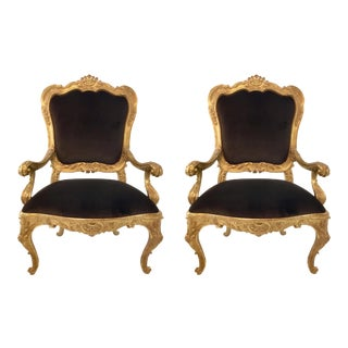 Vintage Italian Gold Gilt and Chocolate Velvet Carved Wood Arm Chairs - a Pair For Sale