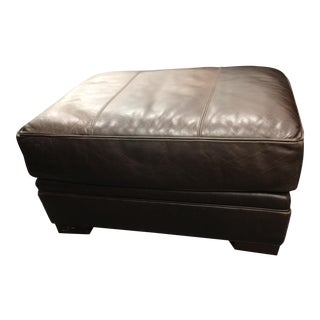 Lee Coffee Leather Ottoman For Sale