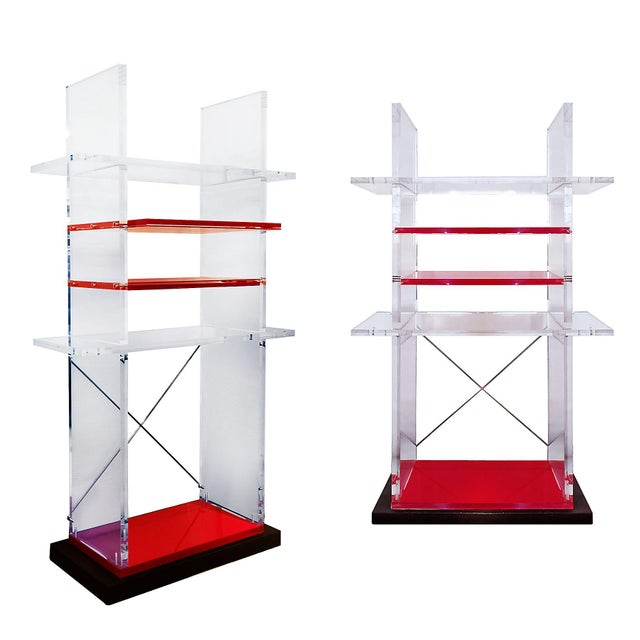 Red 1980´s Pair of Bookcases, Plexiglas, Cast Iron - Italy For Sale - Image 8 of 8
