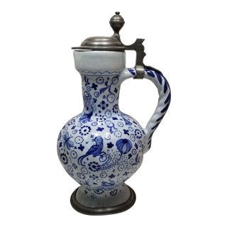 18th Century Signed and Dated Pewter Mounted Continental Faience Ceramic Jug For Sale