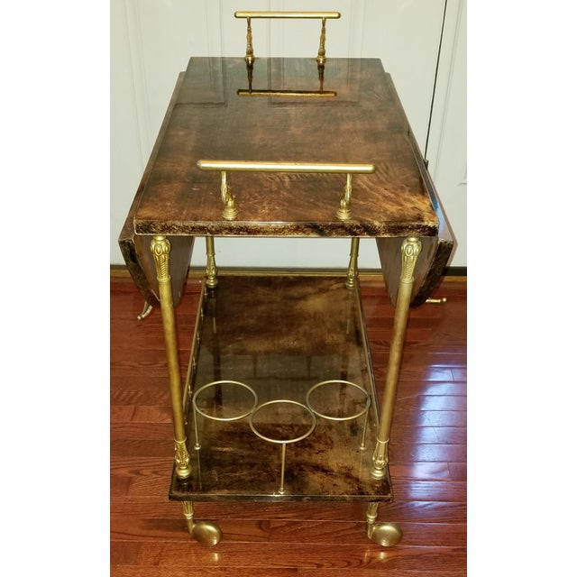 Hollywood Regency 1960s Hollywood Regency Aldo Tura Laquered Goat Skin Bar Cart For Sale - Image 3 of 6
