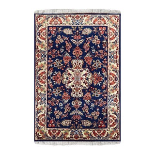 Blue Fine Wool Astan Rug- 3′10″ × 4′1″ For Sale