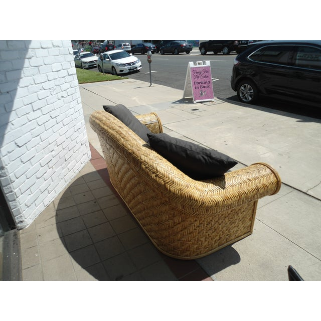Wicker Frame & Black Cushions Outdoor Sofa - Image 4 of 6