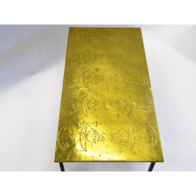 MidCentury Modern Raymor Scandinavian Repousse Brass Coffee Table 1960s For Sale In Miami - Image 6 of 13