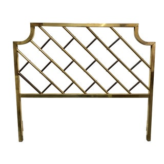 1970s Campaign Brass Hollywood Latticework Queen Bed Headboard