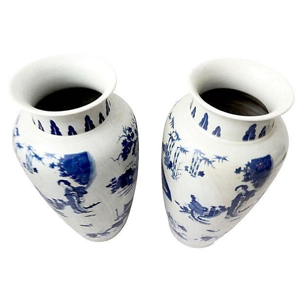 Hand-Painted Blue & White Vases, Pair - Image 7 of 9