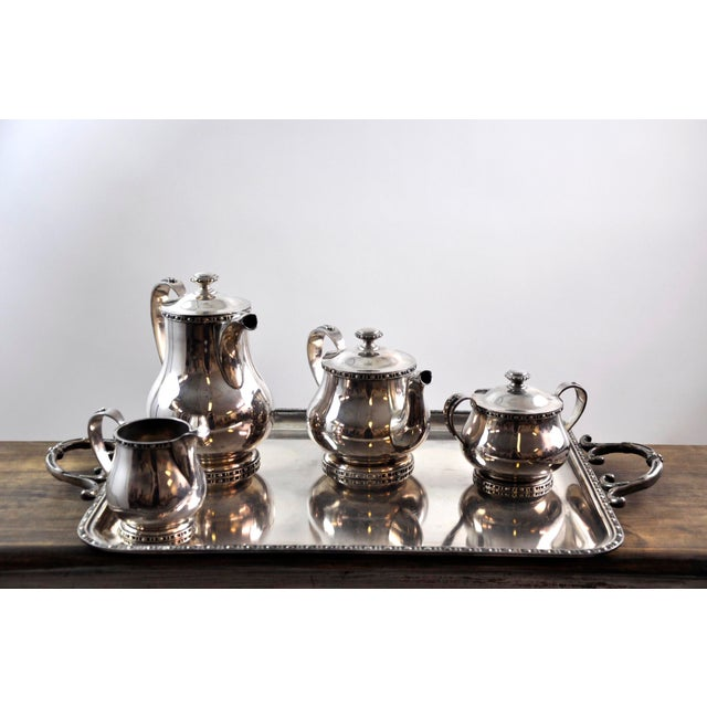 French Silverplated Coffee Tea Serving Set - 5 Pieces For Sale - Image 10 of 12