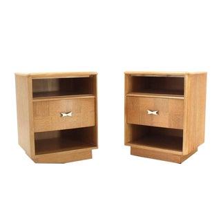 Pair of Cerused Oak Nightstands For Sale