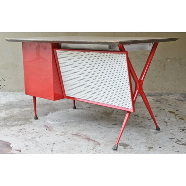 Vintage Mid Century Brunswick Desk By Raymond Loewy White Formica And Pegboard With Red