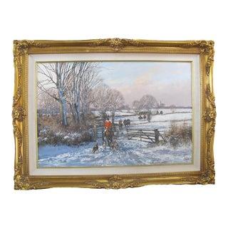 Clive Madgwick Signed Winter Landscape Hunt Scene Oil Painting in Gilt Frame For Sale