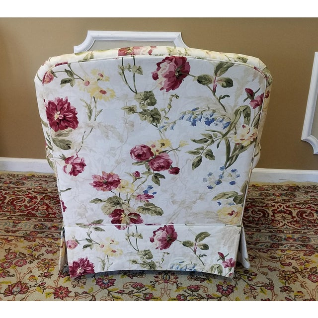Ethan Allen Floral Upholstered Armchairs #20-7555- a Pair - Image 9 of 11