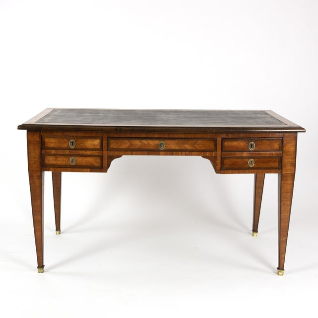 Late 19th Century 1870s French Tulipwood and Kingwood Bureau Plat With Embossed Black Leather Top For Sale - Image 5 of 13