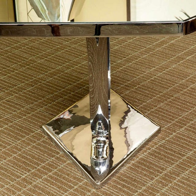 Modern French Modernist Nickel Plated and Mirrored Side Table Attributed to Jacques Adnet For Sale - Image 3 of 5