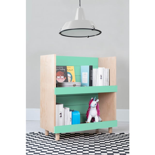 "Modern Nico & Yeye Minimo Modern Kids 31"" Bookcase in Hardwood and Mint For Sale - Image 3 of 4"