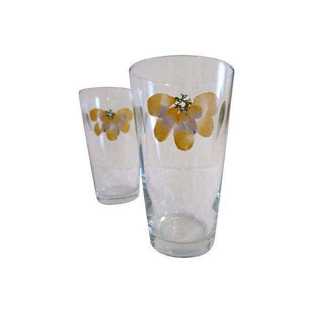Boho Chic Vintage Libbey Petal Pint Tumblers - Set of 4 For Sale - Image 3 of 5