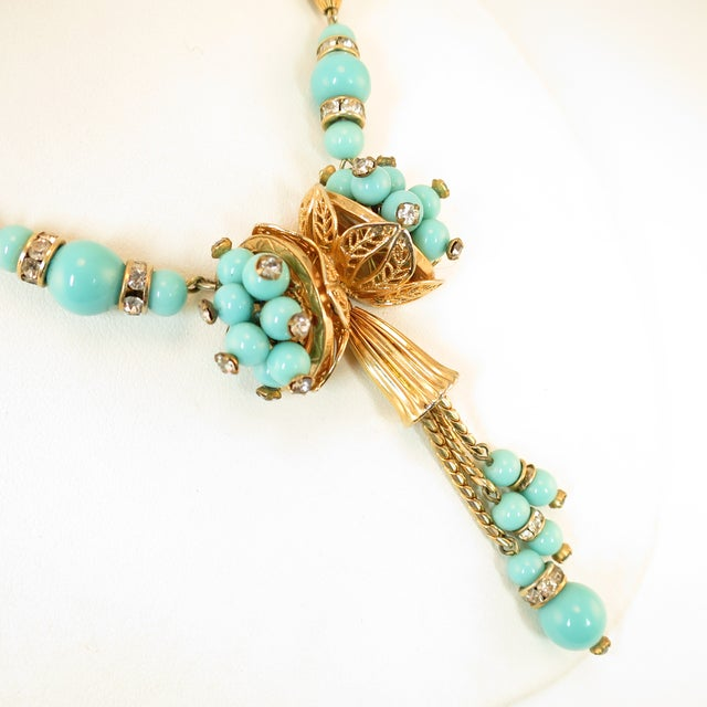 Mid-Century Modern Miriam Haskell Turquoise Glass Necklace & Bracelet Set, Made in Germany 1950s For Sale - Image 3 of 13