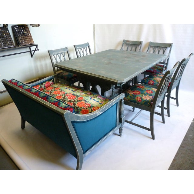 Vintage Trestle Dining Table With Six Chairs and Upholstered Settee For Sale - Image 12 of 12