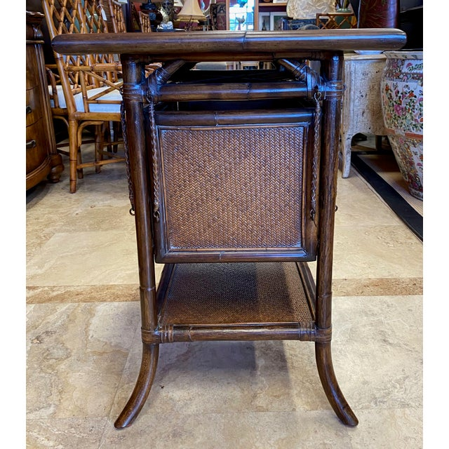 Asian Rattan End Table With Drop Shelves For Sale In Tampa - Image 6 of 12