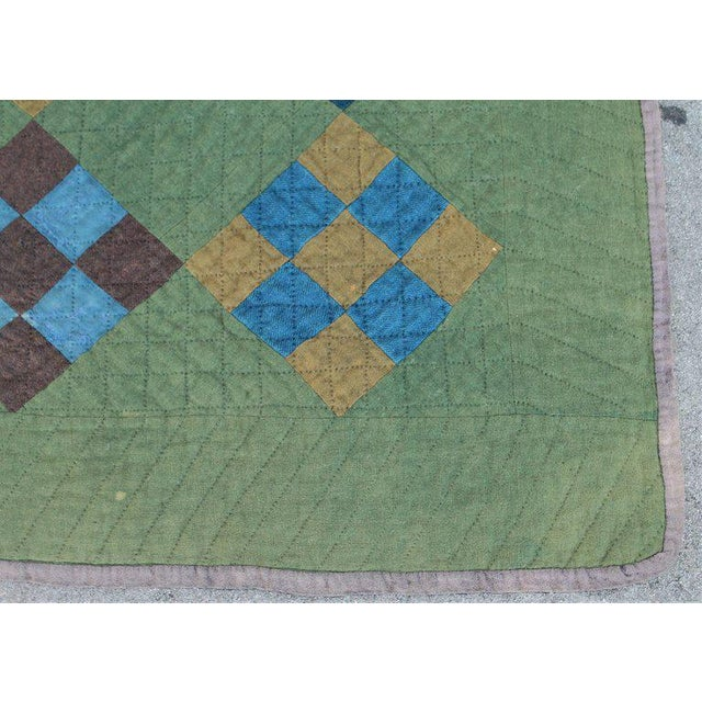 Late 19th Century Antique Amish Nine Patch Wool Quilt For Sale - Image 5 of 9