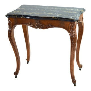 Antique French Louis XV Heavily Carved Marble Top Hall Console Table Cabriolet Legs For Sale