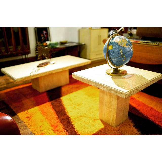 1970s 1970s Italian Maurice Villency Travertine Marble Side Table For Sale - Image 5 of 6