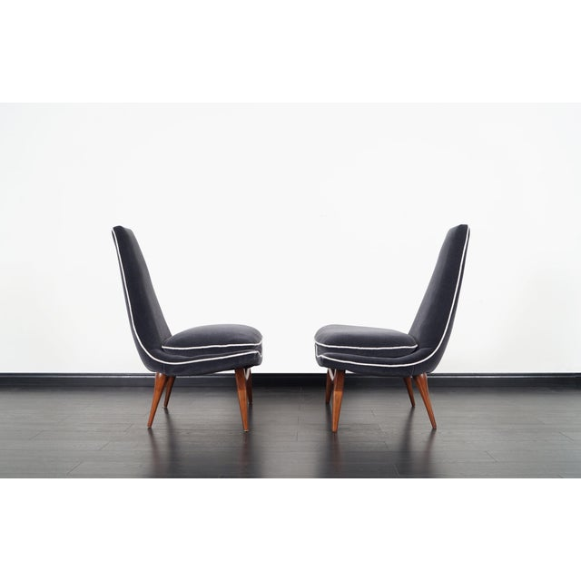 Danish Modern Vintage High Back Lounge Chairs by Karpen For Sale - Image 3 of 9
