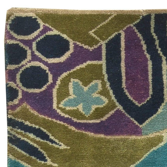 Bold Vintage French Art Deco Rug For Sale - Image 4 of 8