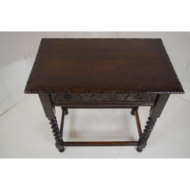Circa 1820 English Georgian Oak Stand/Table. Carved edges, drawer, sides and back. Pegged construction. Single drawer....