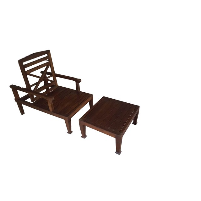 Contemporary Teak Wood Reclining Luxury Lounger With Ottoman For Sale - Image 3 of 6