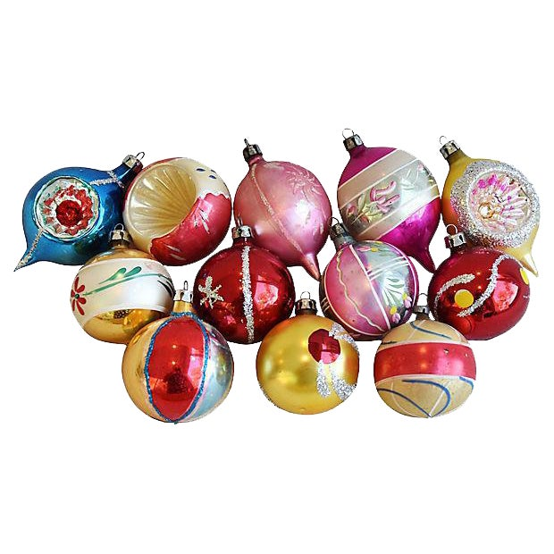 Mid Century Fancy Christmas Ornaments w/Box - Set of 12 - Image 1 of 7