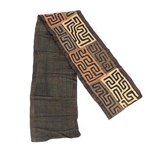 "Vintage Large Hand Woven Kuba Cloth-African Art-148"" X 24""-Art/Rug/Fashion For Sale"