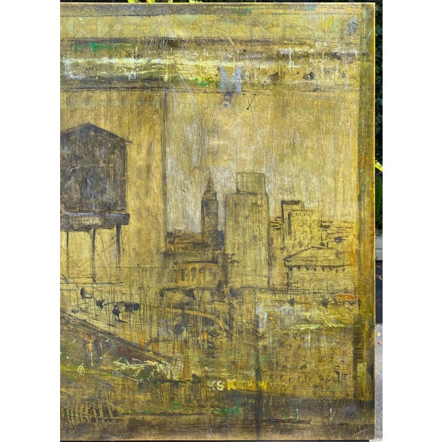 Mid-Century Modern Mid Century Modern Abstract Art Cityscape Oil Painting by P. Kutter For Sale - Image 3 of 4