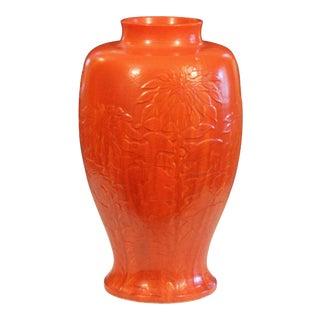 Massive Chrome Orange Awaji Pottery Art Deco Chrysanthemum Vase For Sale