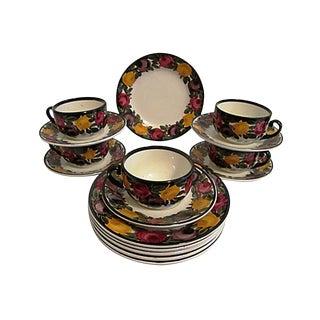 1940s German Pottery Luncheon/Dessert Set - 16 Pieces For Sale